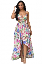 Womens Sexy Bohemia Floral Printed High Low Maxi Dress White