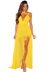 Womens V Neck Backless Side Slit Plain Maxi Dress Yellow