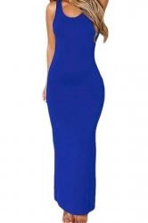 Womens Plain Cut Out Back Sleeveless Maxi Dress Sapphire Blue
