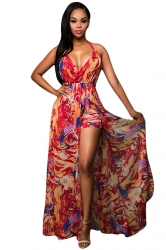 Womens Lace-up Halter V Neck Printed Romper With Maxi Dress Red