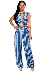 Womens Elegant Striped Sleeveless Belted Wide Leg Jumpsuit Navy Blue