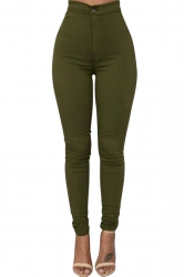 Womens Sexy Slimming Plain High Waist Leggings Army Green