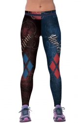 Womens Harley Quinn Printed Ankle Length Sports Leggings Navy Blue