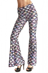 Womens High Waisted Mermaid Printed Bell Bottom Pants Dark Purple