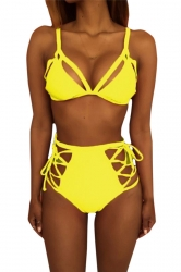 Womens Sexy Cutout Top&High Waist Lace-up Bottom Bikini Set Yellow