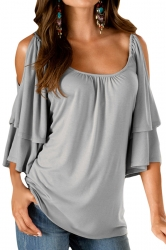 Womens Sexy Cold Shoulder Double Layer Plain Blouse Gray