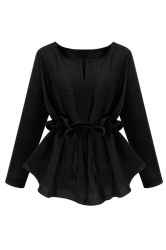 Womens Plain Plus Size Ruffle Waist Long Sleeve Blouse Black