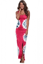 Womens Side Slit Printed Cutout Back Maxi Tank Dress Rose Red