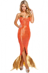 Womens Cross Lace-up Back Tube Mermaid Halloween Costume Dress Orange