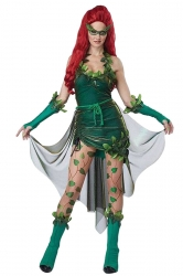Womens Ivy Cosplay Halloween Costume Dress Green