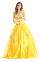 Womens Bow Back Belle Princess Maxi Halloween Costume Yellow