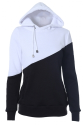 Womens Color Block Drawstring Long Sleeve Pullover Hoodie Black