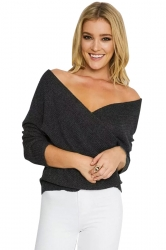 Womens Cross V Neck Off Shoulder Pullover Plain Sweater Black