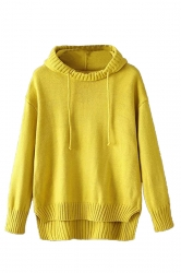 Womens High Low Plain Pullover Hooded Sweater Yellow