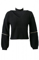 Womens V Neck Zipper Sleeve Pullover Choker Sweater Black