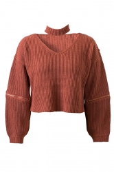 Womens V Neck Zipper Sleeve Pullover Choker Sweater Tangerine