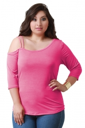Womens Plus Size One Shoulder Plain 3/4 Length Sleeve T Shirt Rose Red