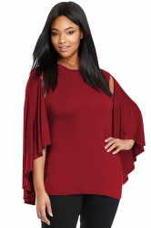 Womens Plus Size Plain Open Sleeve Cloak T Shirt Ruby