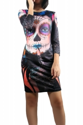 Womens Halloween Skull Printed Long Sleeve Midi Dress Black