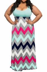 Womens Plus Size Zigzag Printed Maxi Tank Dress Light Blue