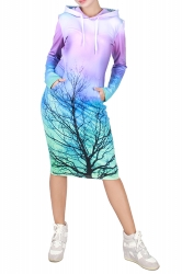 Womens Tree Printed Hooded Long Sleeve Midi Dress Purple