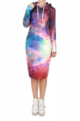 Womens Galaxy Printed Hooded Long Sleeve Midi Dress Watermelon Red