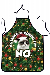 Womens Funny Christmas Cat Printed Apron Green