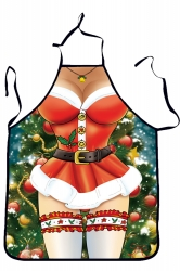 Womens Funny Christmas Santa Beauty Printed Apron Red