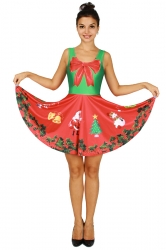 Womens Christmas Wreath Printed Sleeveless Skater Dress Red