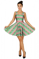 Womens Christmas Reindeer Printed Sleeveless Skater Dress Green