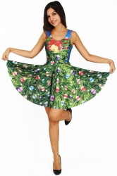 Womens Christmas Tree Printed Sleeveless Skater Dress Green