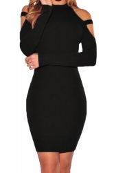 Womens Cold Shoulder Long Sleeve Plain Bodycon Dress Black