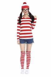 Womens Cartoon Where's Wally Halloween Costume Red