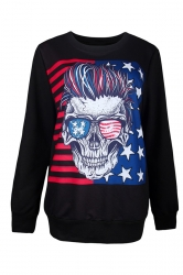 Womens American Flag Printed Halloween Pullover Sweatshirt Blue
