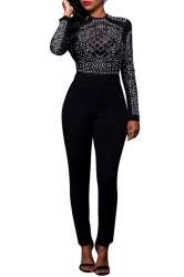 Womens Sheer Rhinestone Long Sleeve High Waist Jumpsuit Black