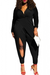 Womens Twist Knot Slit Long Sleeve Plus Size Jumpsuit Black