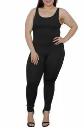 Womens Plus Size Plain Sleeveless Bodycon Jumpsuit Black