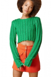 Womens Plain Cable Knit Long Sleeve Crop Pullover Sweater Green