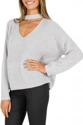Womens Plain V Neck Pullover Crochet Sweater Gary