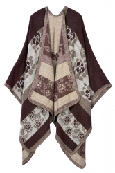 Womens Retro Exotic Patterned Cardigan Poncho Coffee
