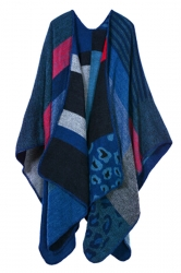 Womens Retro Geometric Patterned Asymmetric Cardigan Poncho Blue