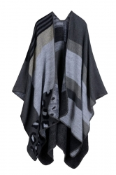 Womens Retro Geometric Patterned Asymmetric Cardigan Poncho Black