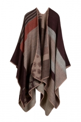 Womens Retro Geometric Patterned Asymmetric Cardigan Poncho Coffee