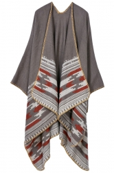 Womens Retro Geometric Patterned Asymmetric Cardigan Poncho Khaki