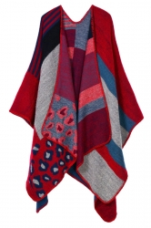 Womens Retro Geometric Patterned Asymmetric Cardigan Poncho Red