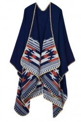 Womens Retro Geometric Patterned Asymmetric Cardigan Poncho Navy Blue