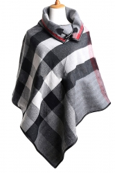 Womens Turndown Collar Color Block Plaid Poncho Gray