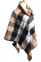 Womens Turndown Collar Color Block Plaid Poncho Khaki