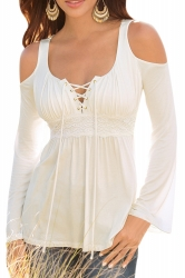 Womens Lace-up Cold Shoulder Bell Sleeve T Shirt White