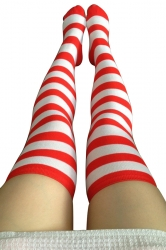 Womens Striped Color Block Christmas Stockings Red